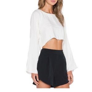 Are You Am I Top XS Delphine Revolve Crop Fray